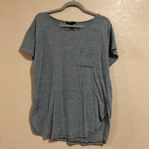 Forever 21 Plus 1X Grey Striped Oversized Tee